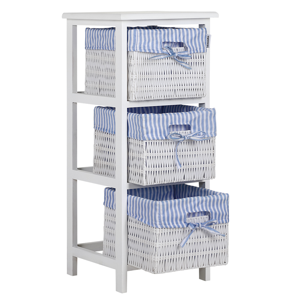 Wicker Basket 3 Drawer Storage Unit White Blue Cabinet Organiser Bathroom Shelf Ebay