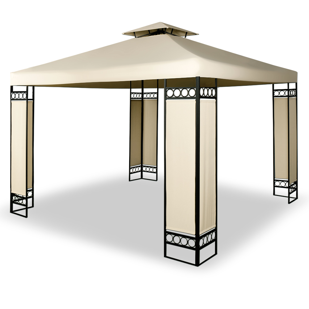 pavillon festzelt gartenzelt partyzelt gartenpavillon garten zelt 3x3m creme ebay. Black Bedroom Furniture Sets. Home Design Ideas