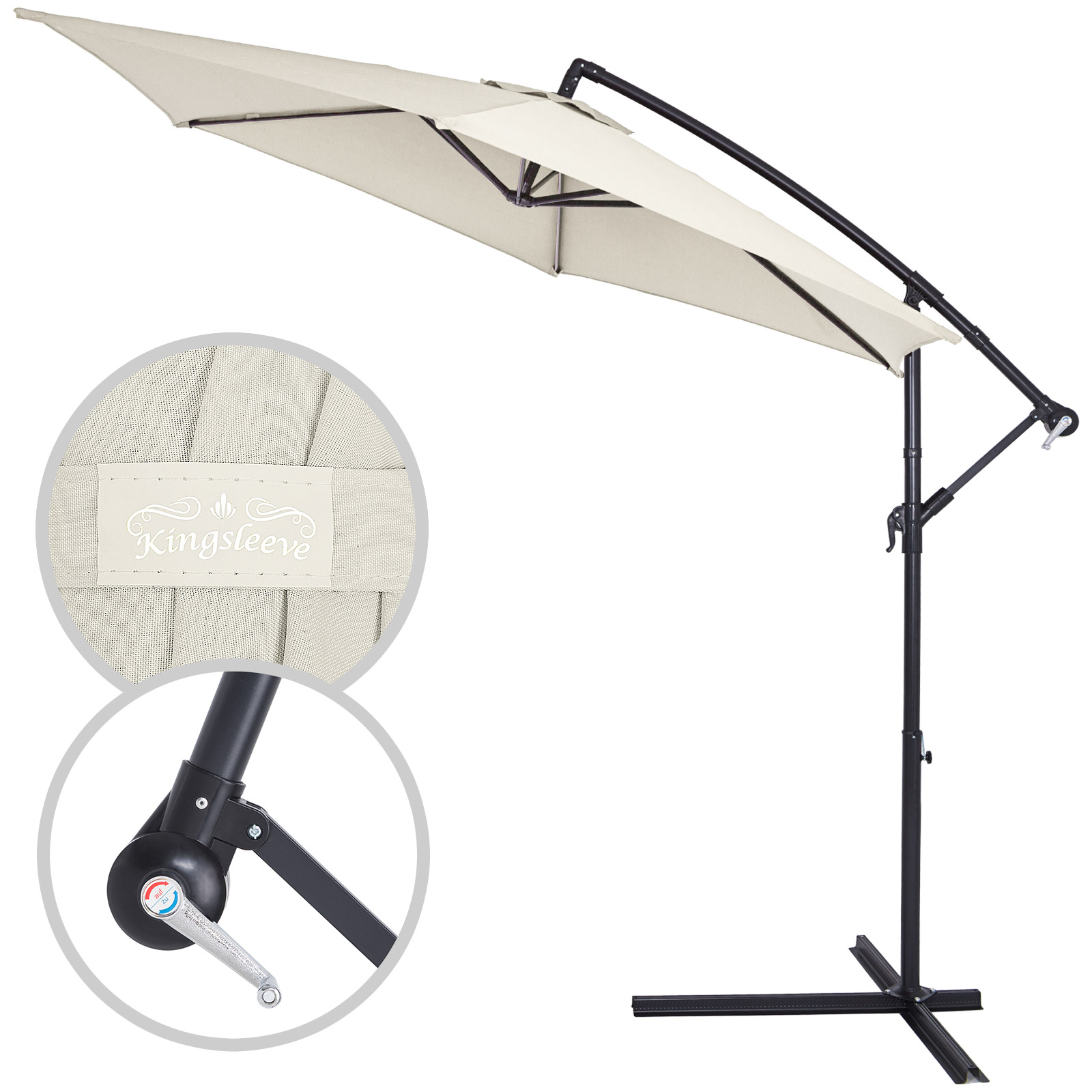 parasol aluminium pare soleil jardin terrasse balcon manivelle 350cm ebay. Black Bedroom Furniture Sets. Home Design Ideas