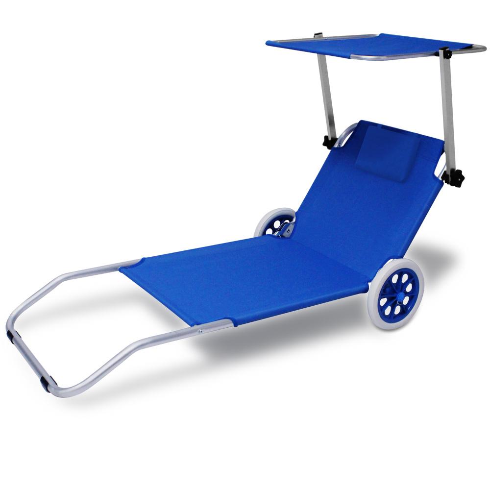 Chaise longue pliable avec pare soleil gris bleu for Chaise longue avec pare soleil
