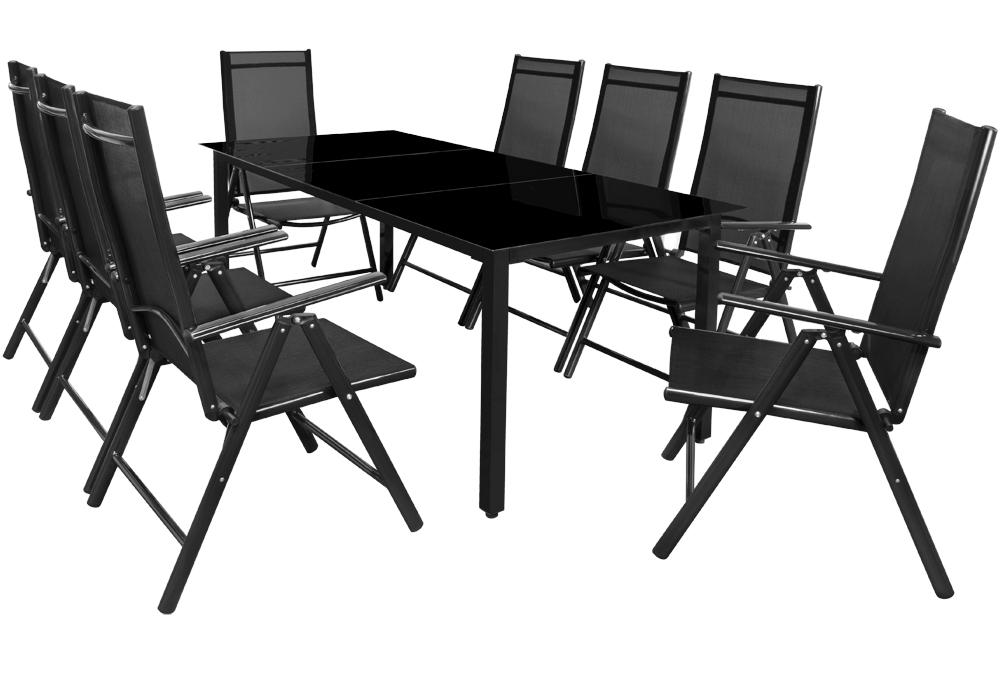 Ensemble table et chaises bern 8 et 1 en aluminium avec for Chaises pliables