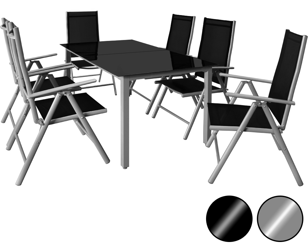 ensemble table et chaises bern 6 1 en aluminium avec. Black Bedroom Furniture Sets. Home Design Ideas
