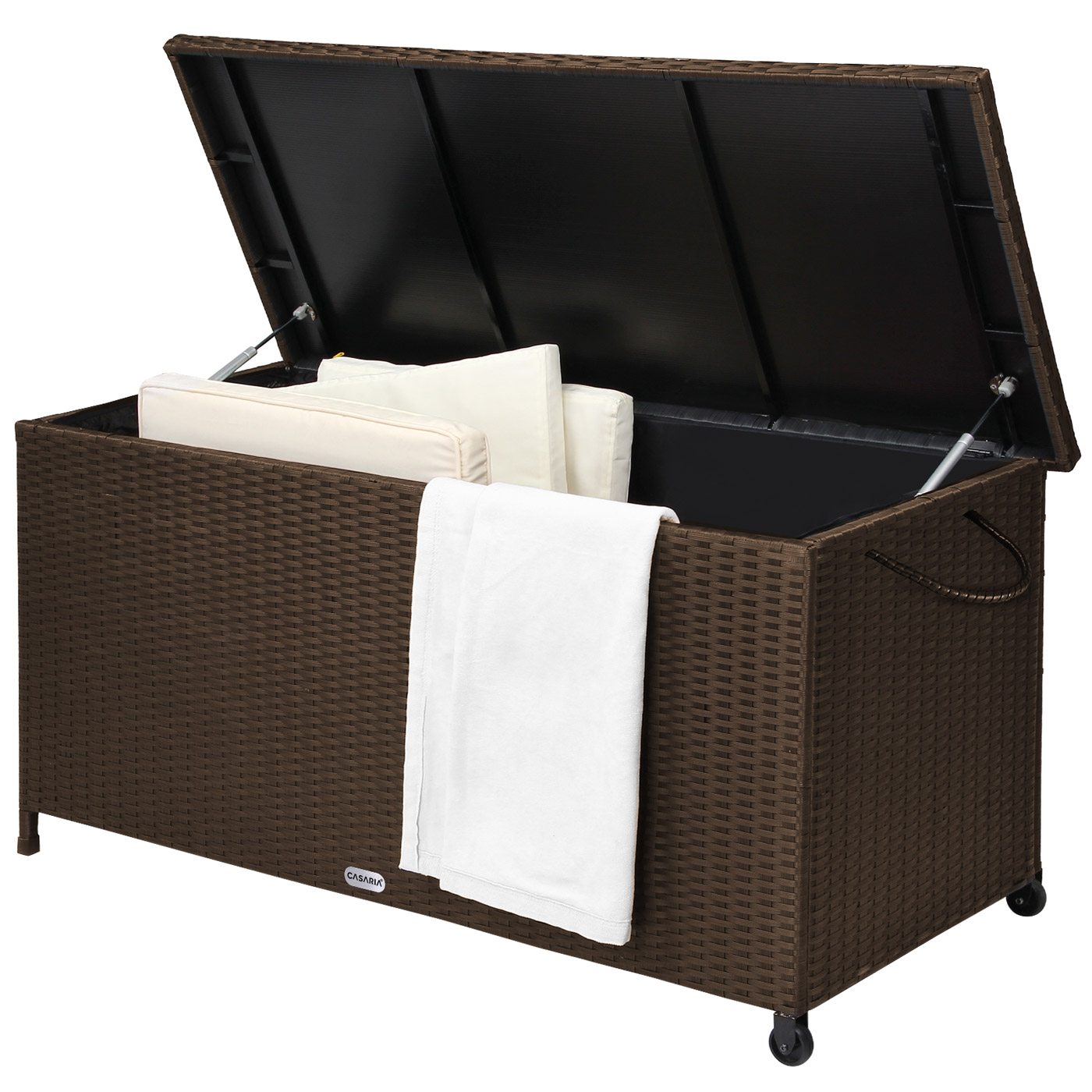 auflagenbox gartenbox gartentruhe truhe kissenbox poly rattan rattanbox kiste ebay. Black Bedroom Furniture Sets. Home Design Ideas