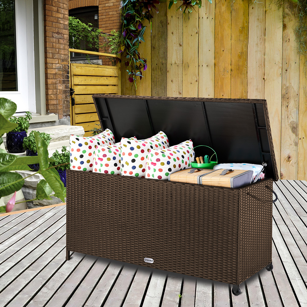 auflagenbox poly rattan gartentruhe gartenbox kissenbox truhe kissentruhe kiste ebay. Black Bedroom Furniture Sets. Home Design Ideas