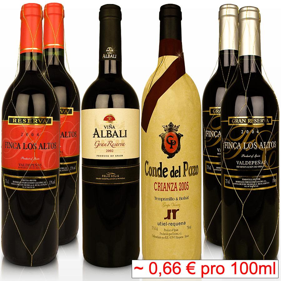 Weinset-6-Fl-spanischer-Gran-Reserva-Weinpaket-Crianza-Rotwein-Wein-Spanien