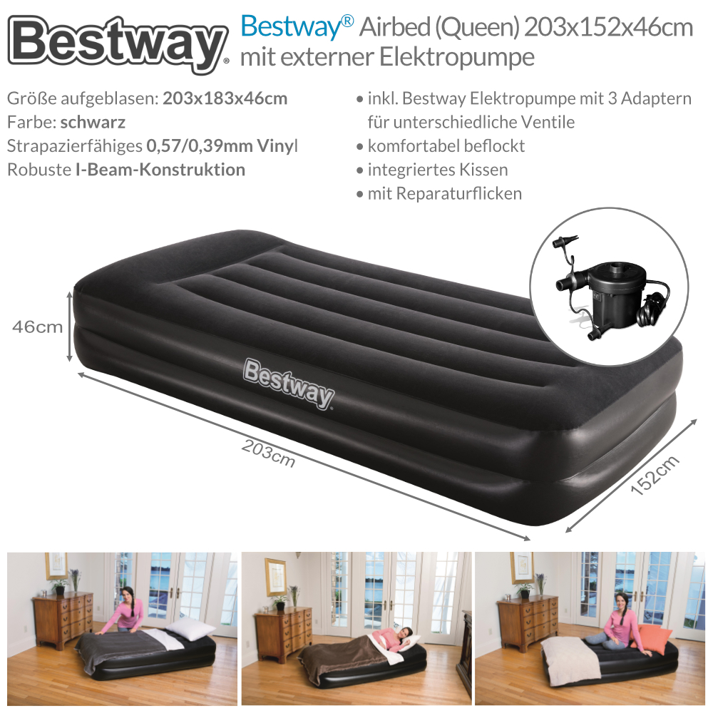 bestway luftbett mit pumpe g stebett bett matratze luftmatratze queen size ebay. Black Bedroom Furniture Sets. Home Design Ideas