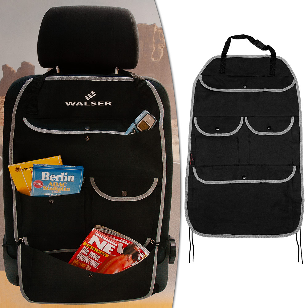 walser auto r cksitztasche r ckenlehnentasche 66x42cm organizer kfz tasche black ebay. Black Bedroom Furniture Sets. Home Design Ideas