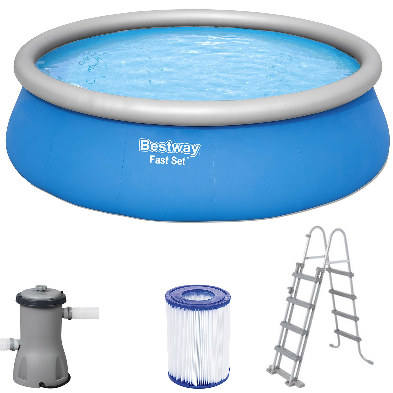 bestway pool komplettset schwimmbecken swimming pool schwimmbad leiter 457x122cm ebay. Black Bedroom Furniture Sets. Home Design Ideas