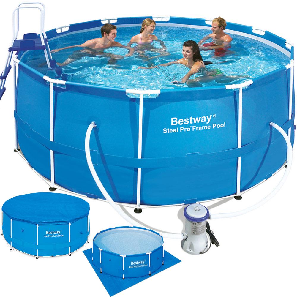 Schwimmbecken set swimming bodenplane poolpumpe pool for Stahlrahmen pool rund