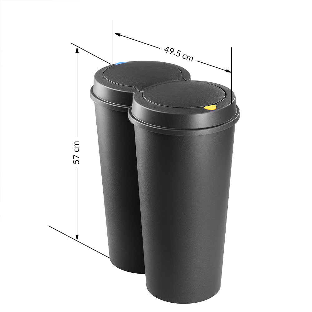 50l waste dustbin garbage trash rubbish bin can double lid