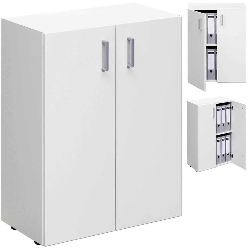white office cupboard wooden cabinet office storage shelf 2 doors cupboard shelf ebay. Black Bedroom Furniture Sets. Home Design Ideas