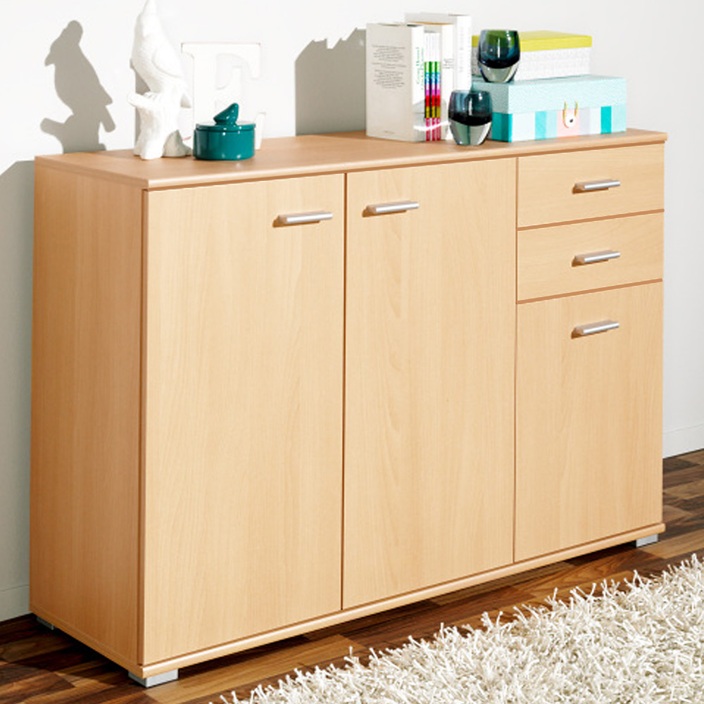 cs schmal sideboard storage cabinet wooden cupboard buffet chest drawers beech ebay. Black Bedroom Furniture Sets. Home Design Ideas