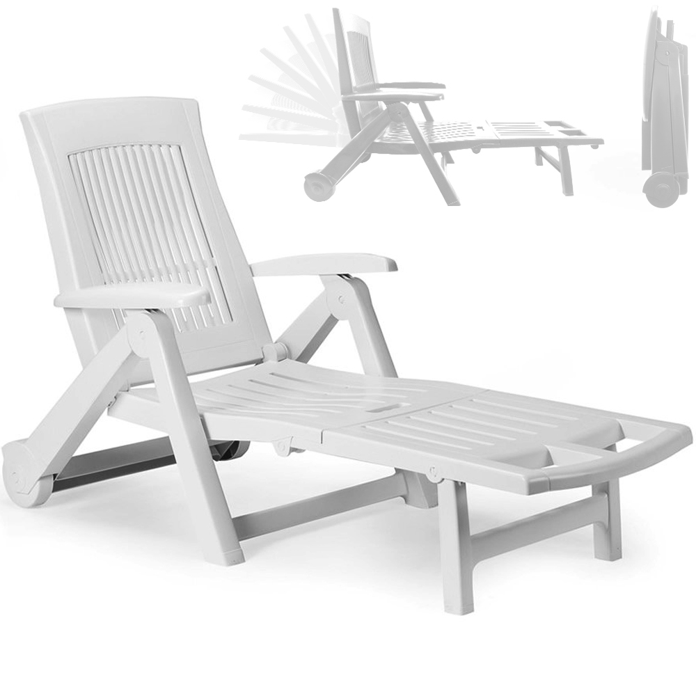 Sun lounger garden deck sun bed chair recliner patio for Chaise longue plastique