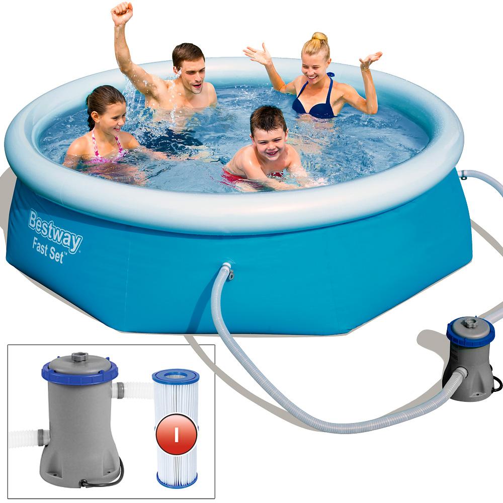 Bestway swimming pool schwimmbecken schwimmbad fast set for Swimmingpool selbstaufstellend