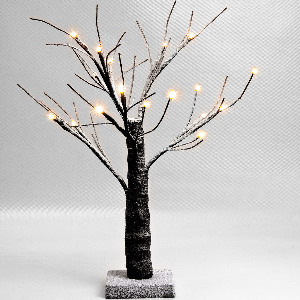 led baum lichterbaum leuchtbaum beleuchtung weihnachtsdeko schnee 45cm innen ebay. Black Bedroom Furniture Sets. Home Design Ideas