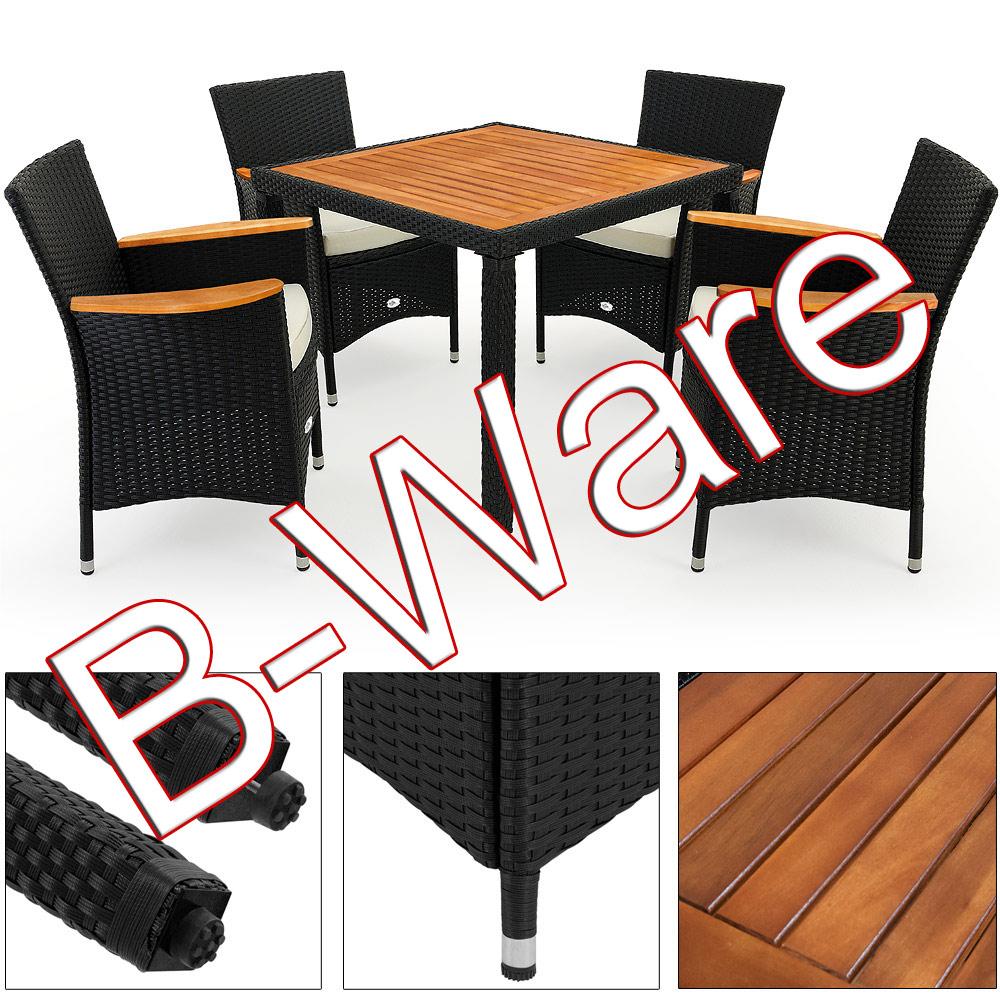 b ware sitzgruppe gartenm bel polyrattan garten tisch sitzgarnitur akazie 4 1 ebay. Black Bedroom Furniture Sets. Home Design Ideas