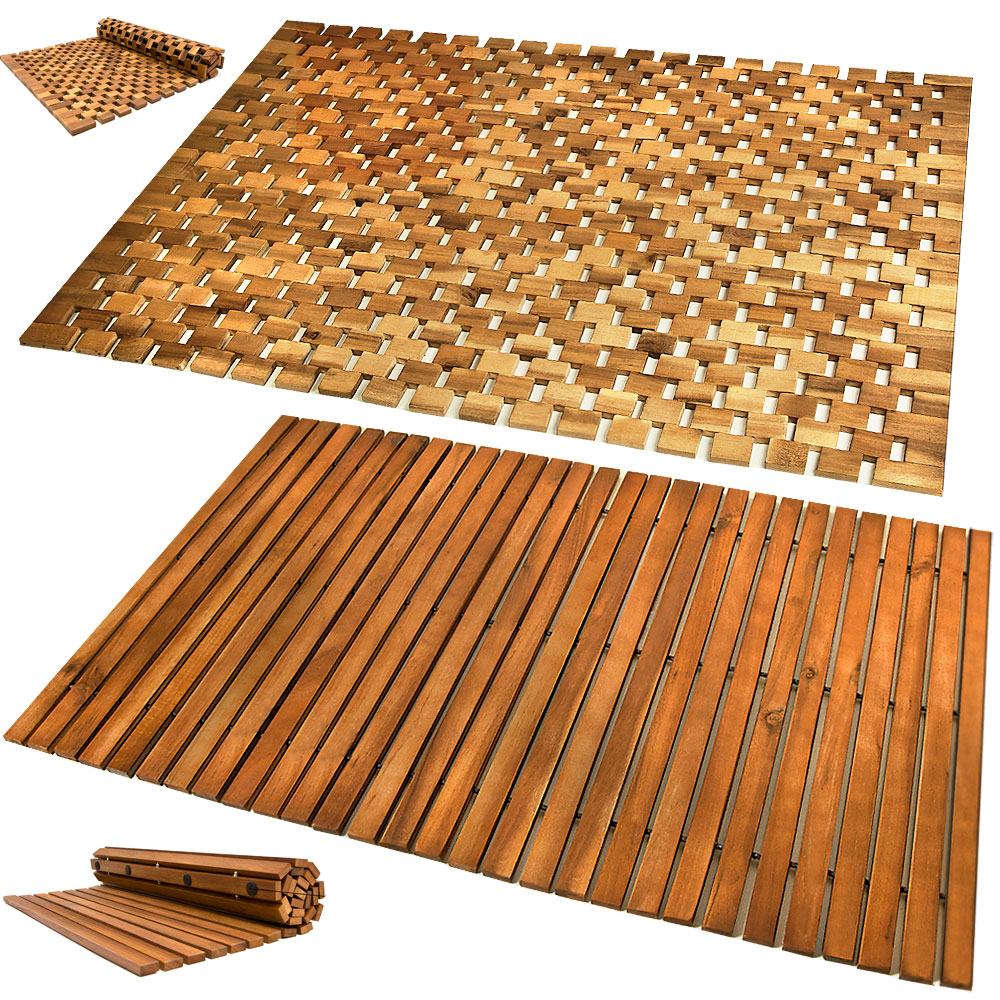 wooden bath mat duckboard shower mats non slip hardwood bathroom duck board mat ebay. Black Bedroom Furniture Sets. Home Design Ideas
