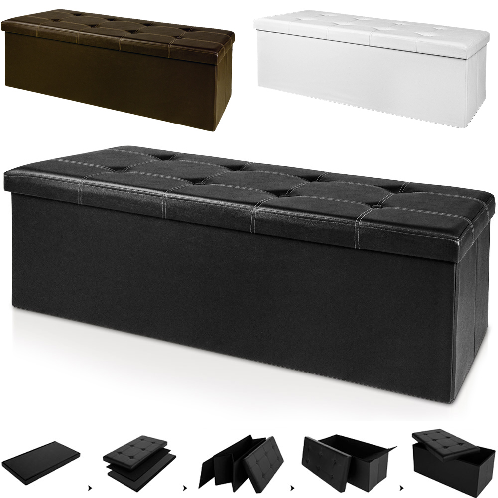 Stool Bench Ottoman Storage Box Cube Seat Black White Brown Grey Large Leather Ebay