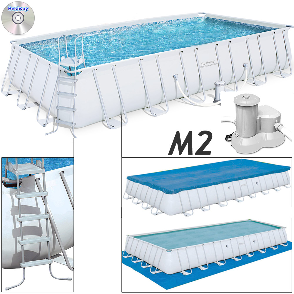 Pool Schwimmbecken Schwimmbad Swimming Pool Stahlrahmen Poolleiter Poolfilter D2