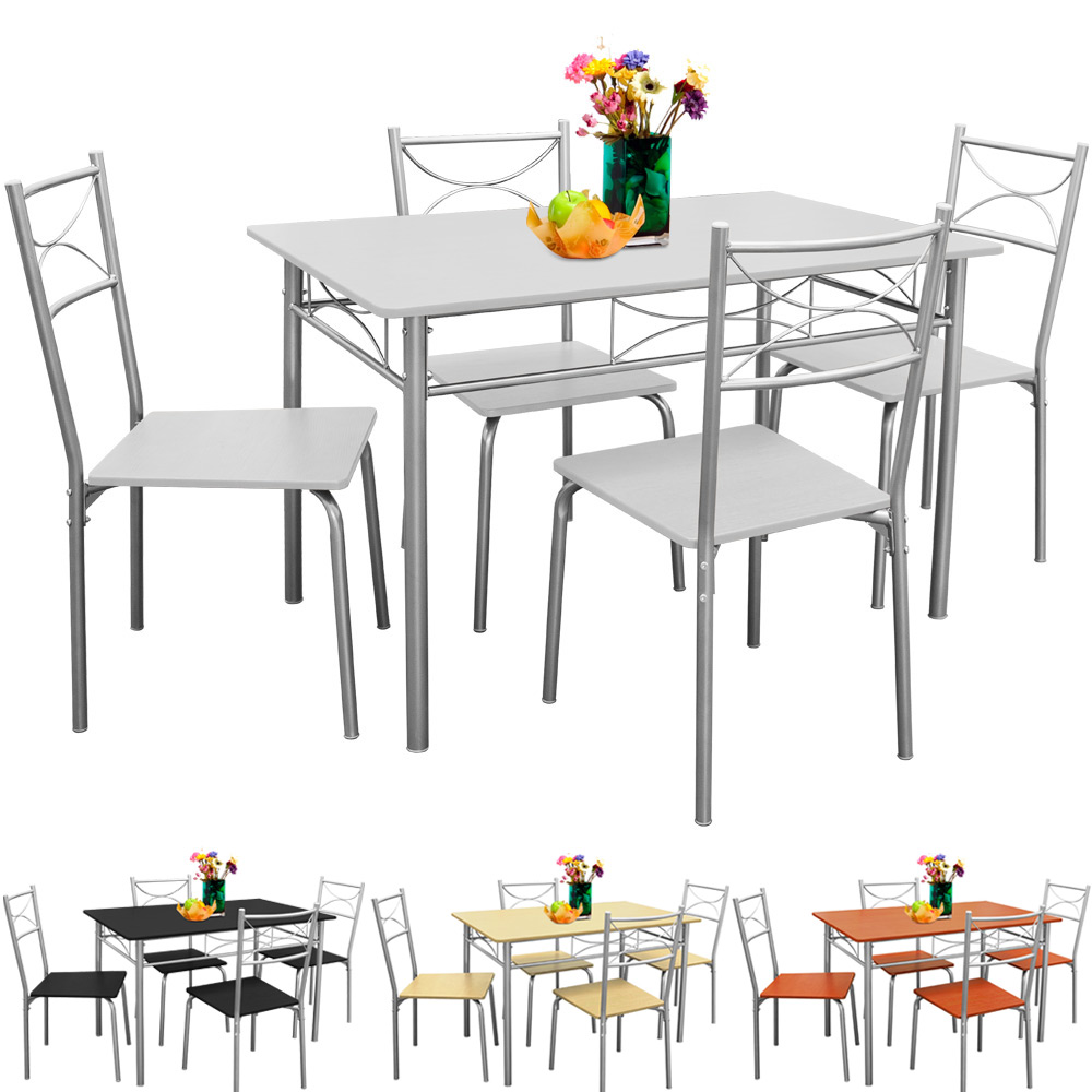 space saver kitchen tables black white | Dining Table and Chairs Set Kitchen 4 Seater White Black ...