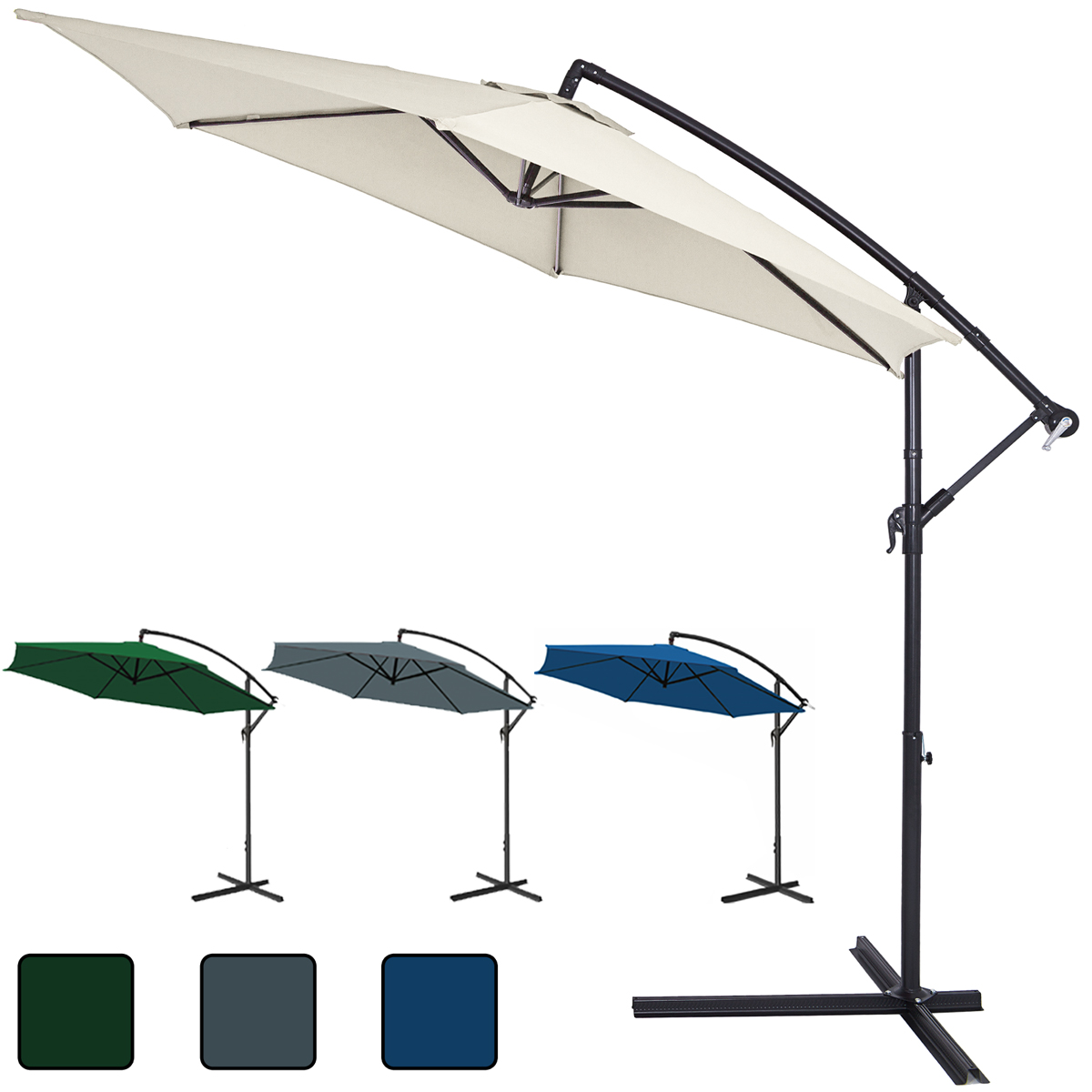 garden sun parasol large 350cm aluminium patio sun umbrella with crank handle ebay. Black Bedroom Furniture Sets. Home Design Ideas
