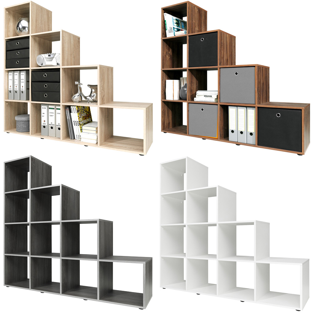 step storage shelf cube wooden 10 6 boxes bookcase. Black Bedroom Furniture Sets. Home Design Ideas
