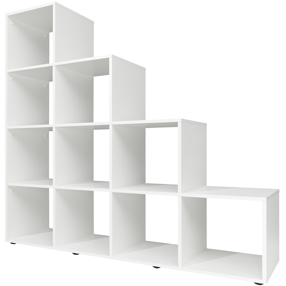step storage shelf cube wooden 10 6 boxes bookcase shelving unit oak white ebay. Black Bedroom Furniture Sets. Home Design Ideas
