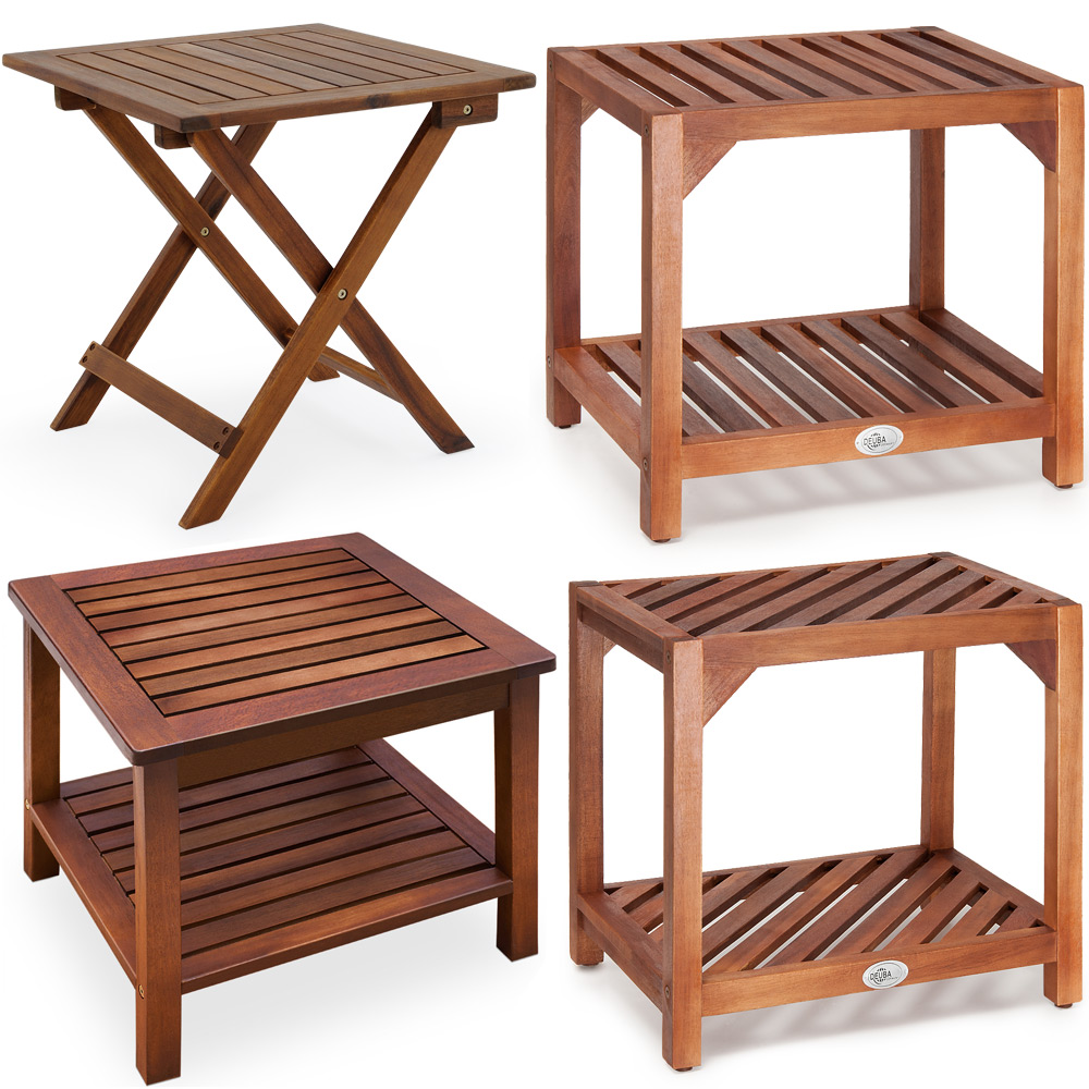 Garden Side Table Wooden Patio Coffee End Table Folding Outdoor Tea Bistro Ebay