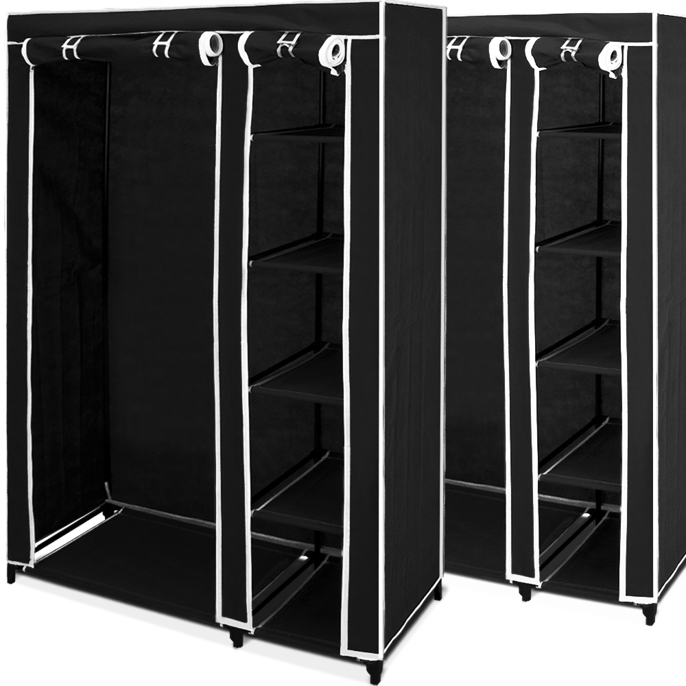 2x double canvas wardrobe clothes storage hanging rail. Black Bedroom Furniture Sets. Home Design Ideas
