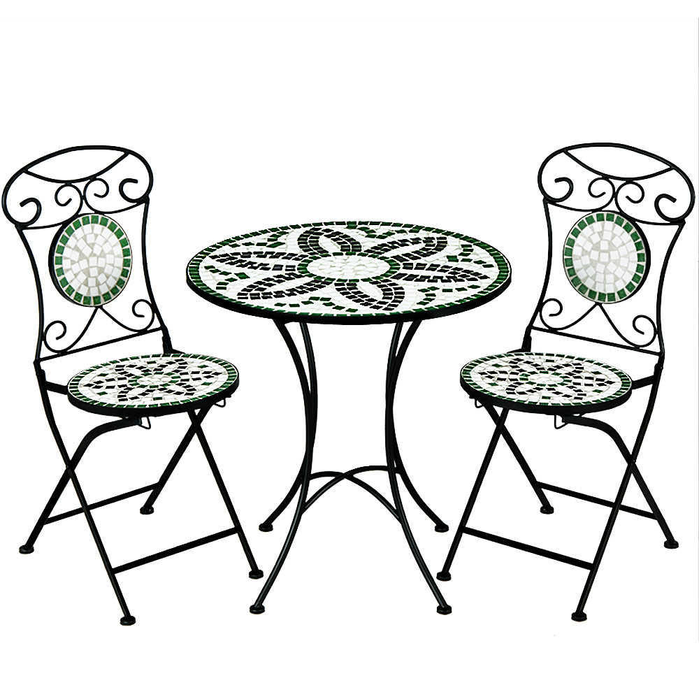 Mosaic patio set floralis garden furniture set 1 table 2 foldable chairs ebay for Achat table de jardin mosaique