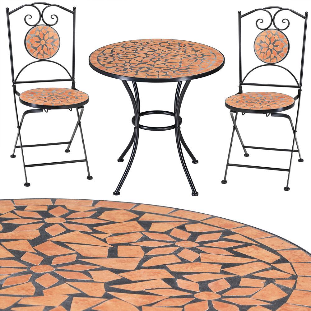 mosaik gartentisch set 1 tisch rund 2 st hle pictures to. Black Bedroom Furniture Sets. Home Design Ideas