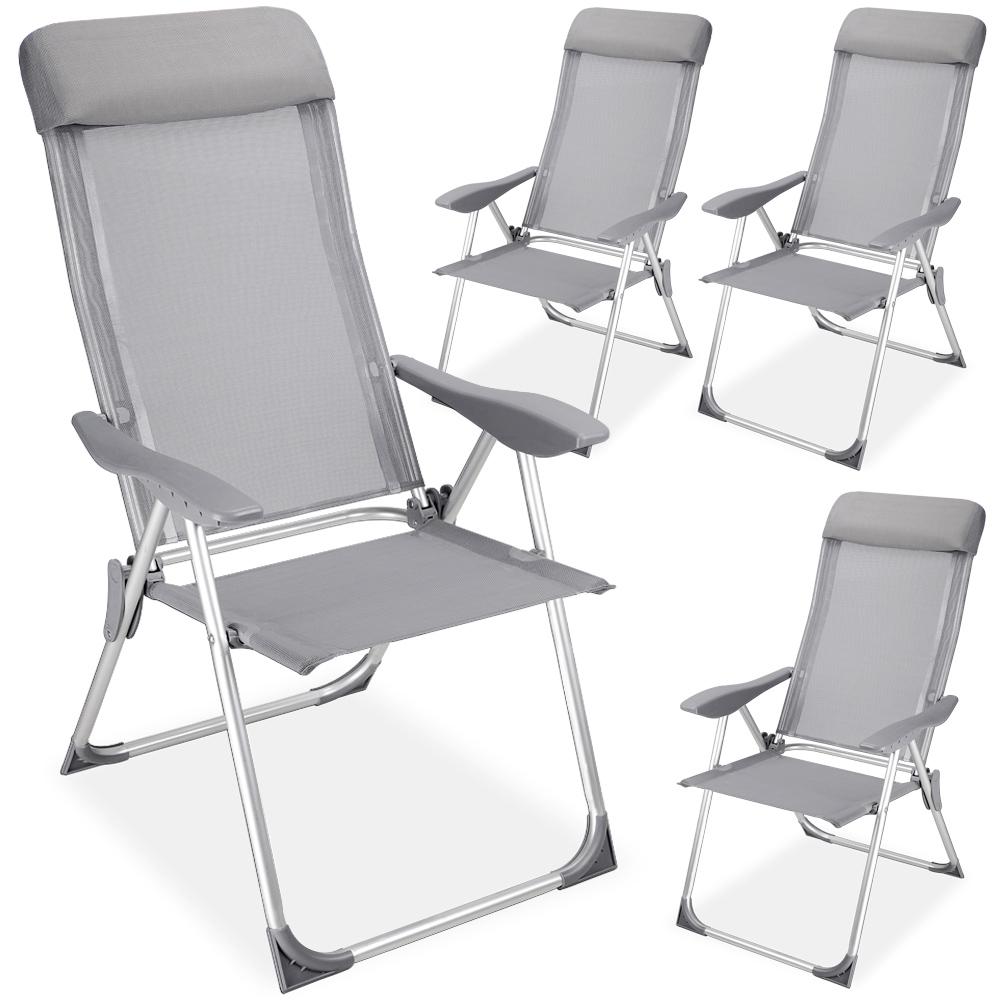 garden chairs 4x high back aluminium grey folding camping