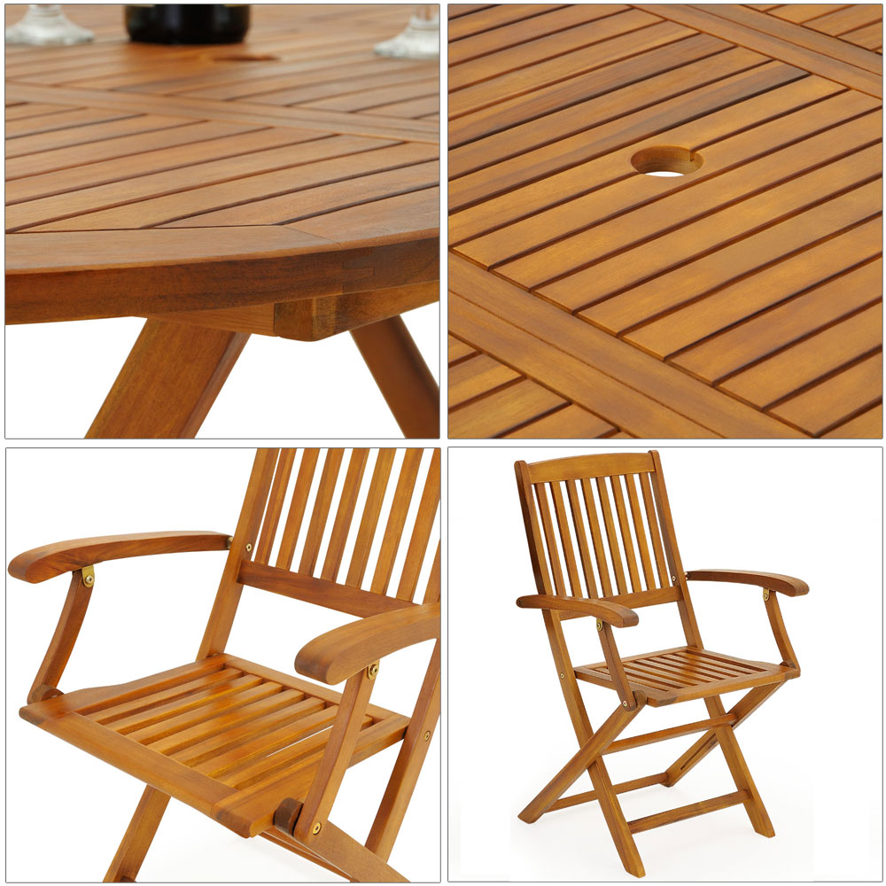 Wooden garden furniture set boston table chairs acacia for Table chaise exterieur
