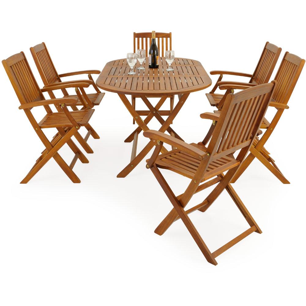 Wooden Garden Furniture Set Boston Table Chairs Acacia