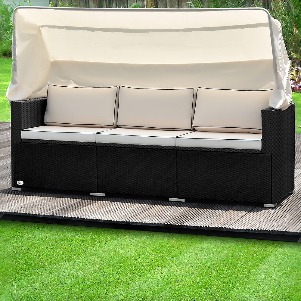 poly rattan lounge sofa bank couch dach gartenliege