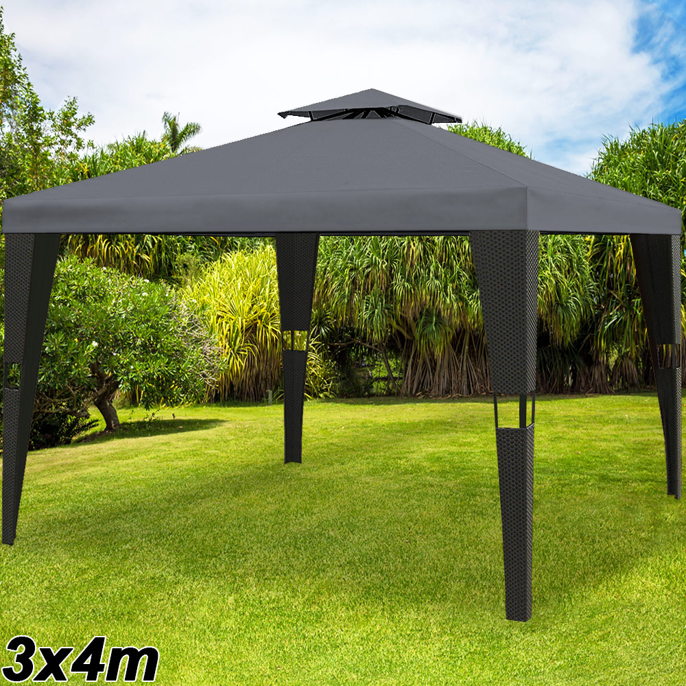pavillon 3x4m pavilion gartenm bel garten partyzelt pavillion metall polyrattan ebay. Black Bedroom Furniture Sets. Home Design Ideas