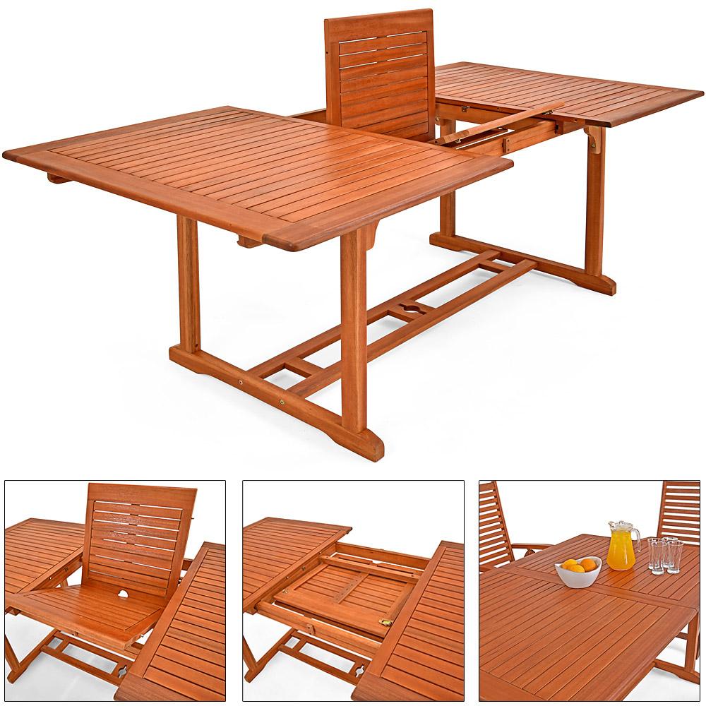 Salon de jardin unikko en eucalyptus tables et chaises for Ebay salon de jardin