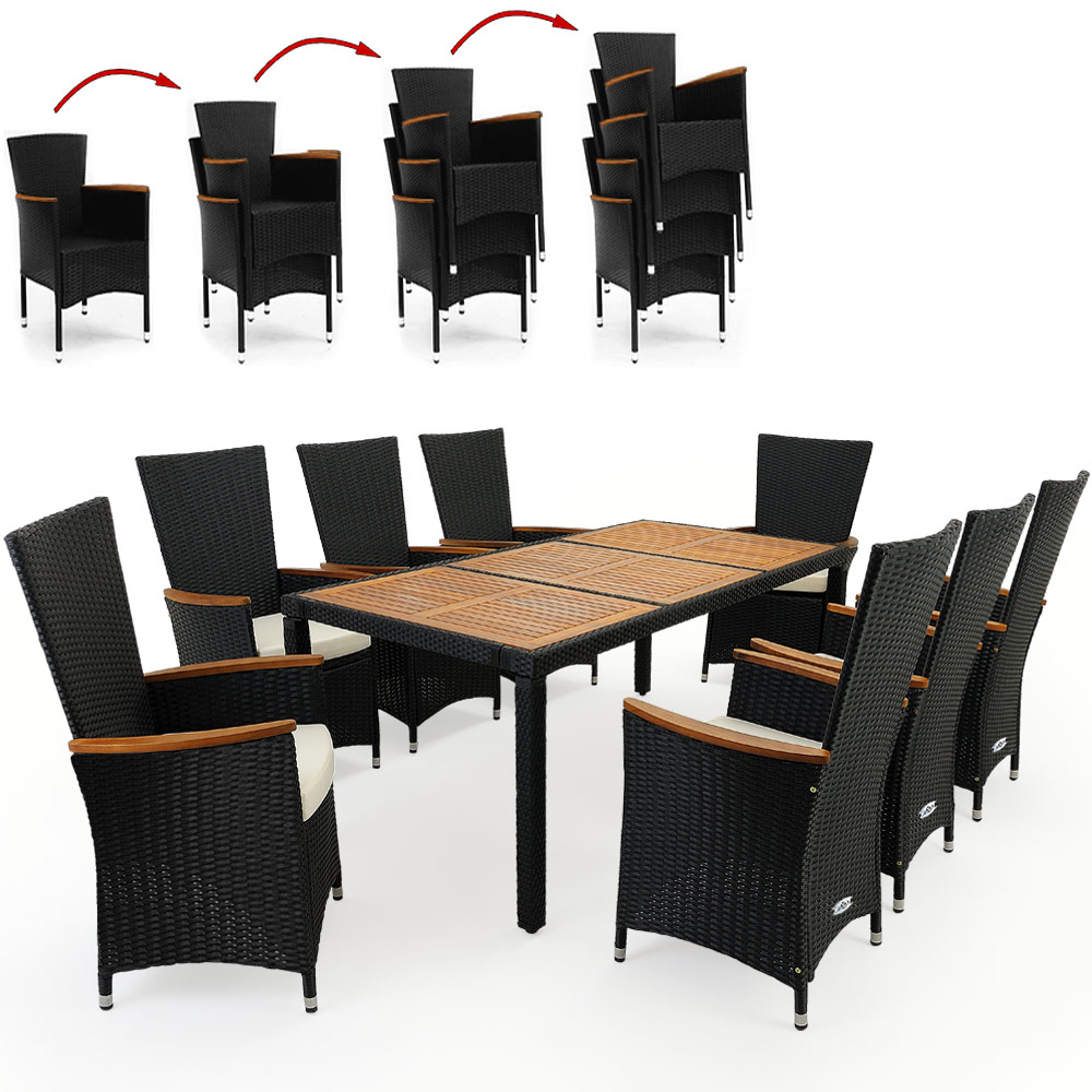 Rattan Garden Furniture Dining Table and 8 Chairs Black ...