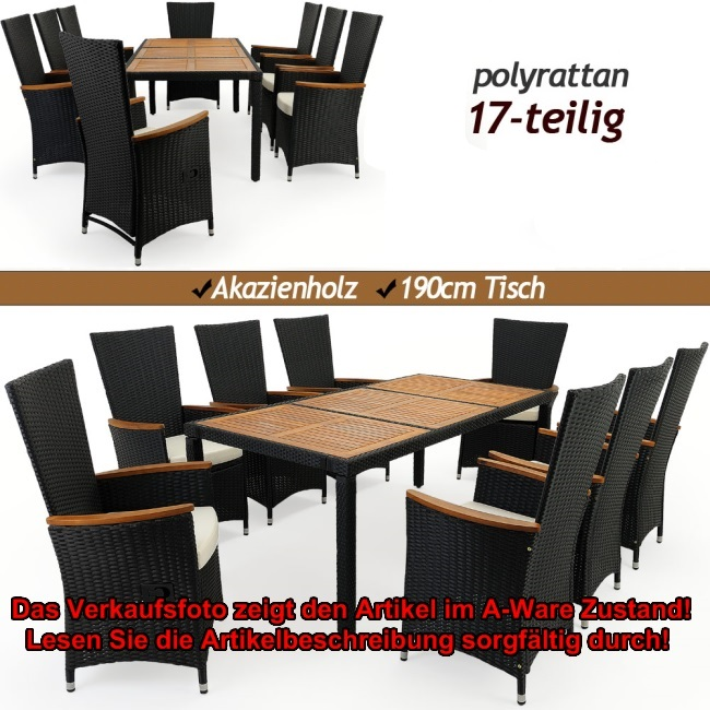 b ware sitzgruppe 17tlg rattan holz gartenm bel sitzgarnitur ebay. Black Bedroom Furniture Sets. Home Design Ideas