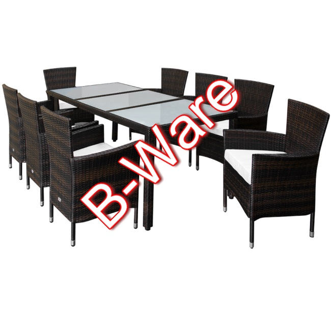 b ware 17tlg rattan sitzgruppe 8 1 tischgestell stuhl gartenm bel sitzgarnitur ebay. Black Bedroom Furniture Sets. Home Design Ideas