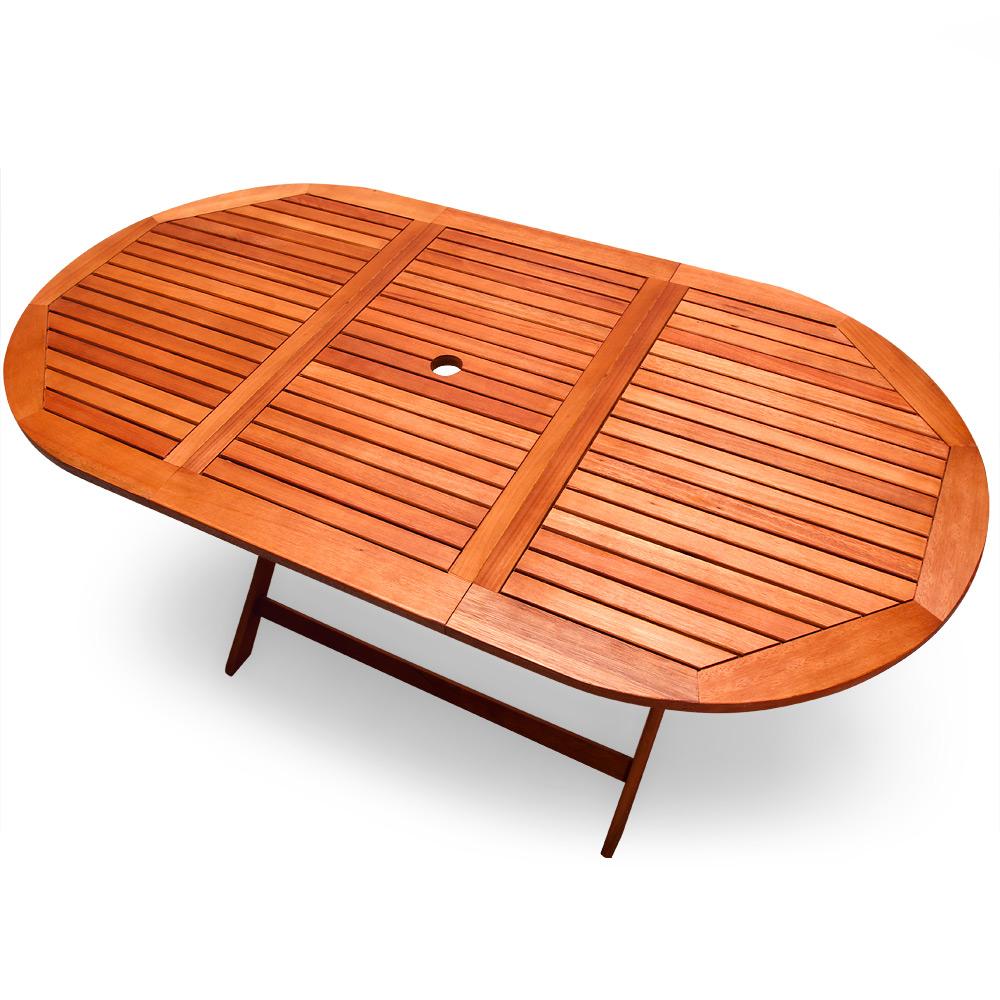 Table de jardin pliable Alabama en bois d\'Eucalyptus pré-huilé 160 x ...