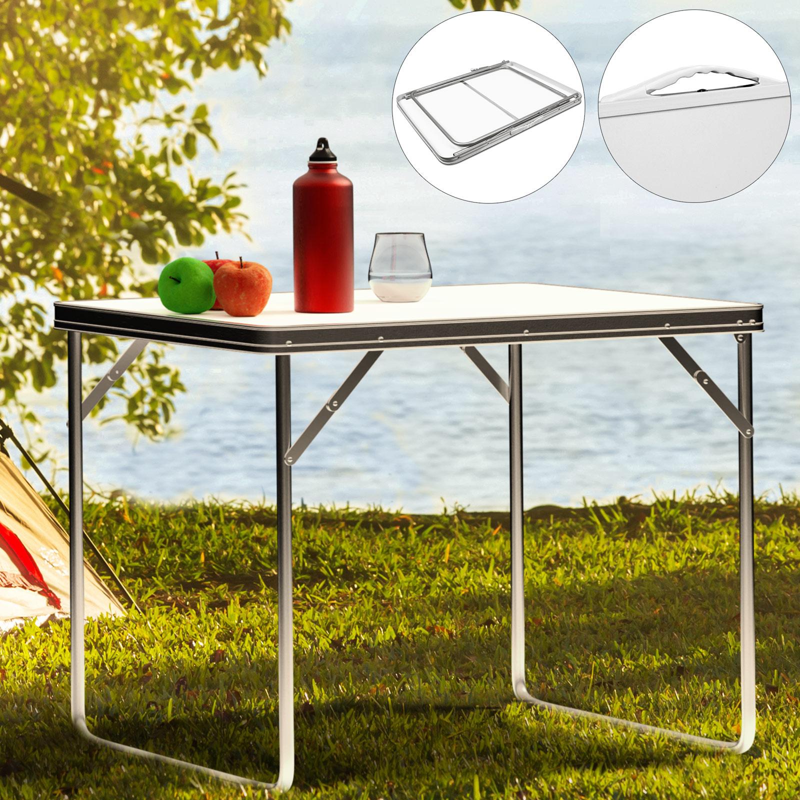 Details zu Table de camping pliante 80x60x68cm Blanc Meuble extérieur  intérieur repas