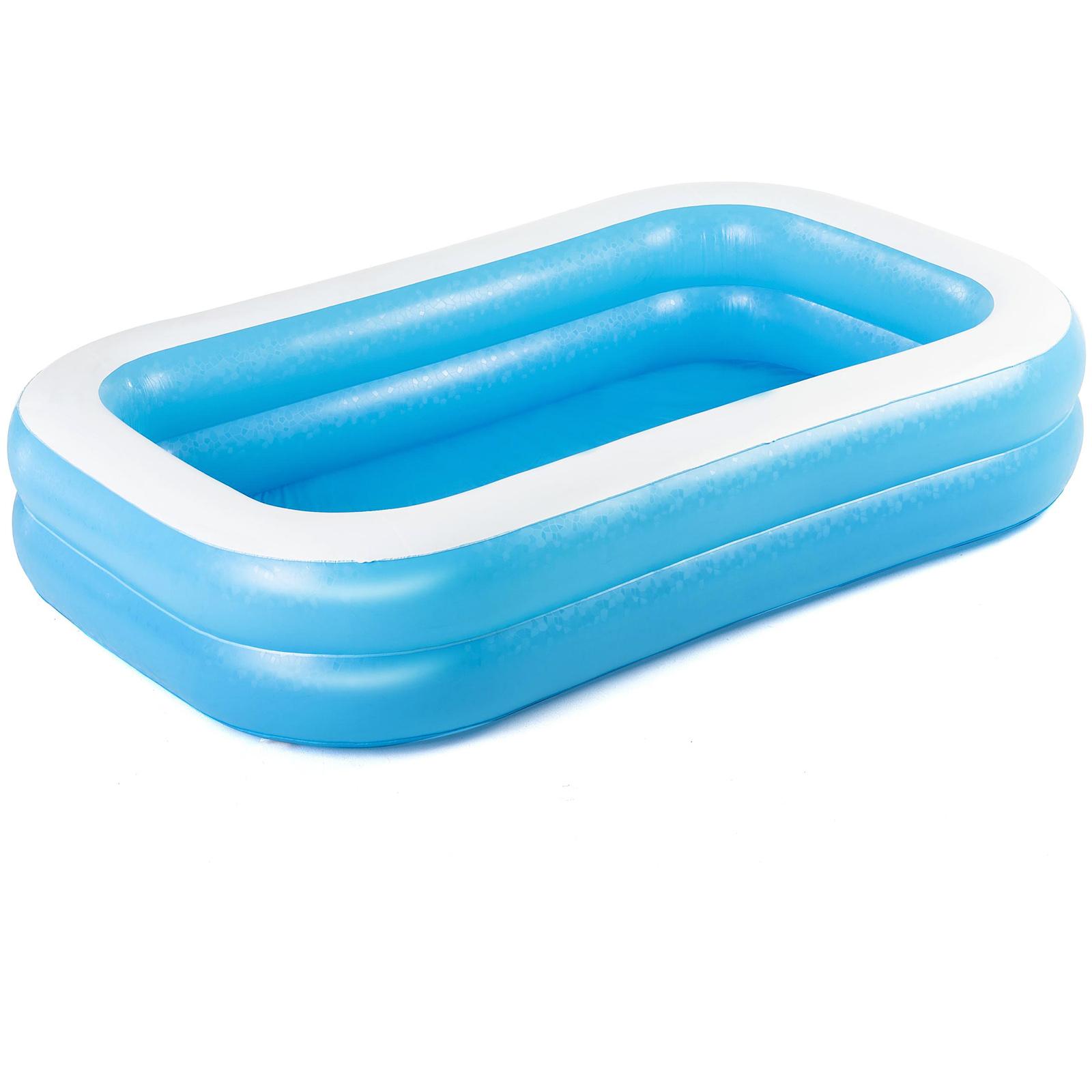 Inflatable rectangular family paddling pool large garden for Garden swimming pool ebay