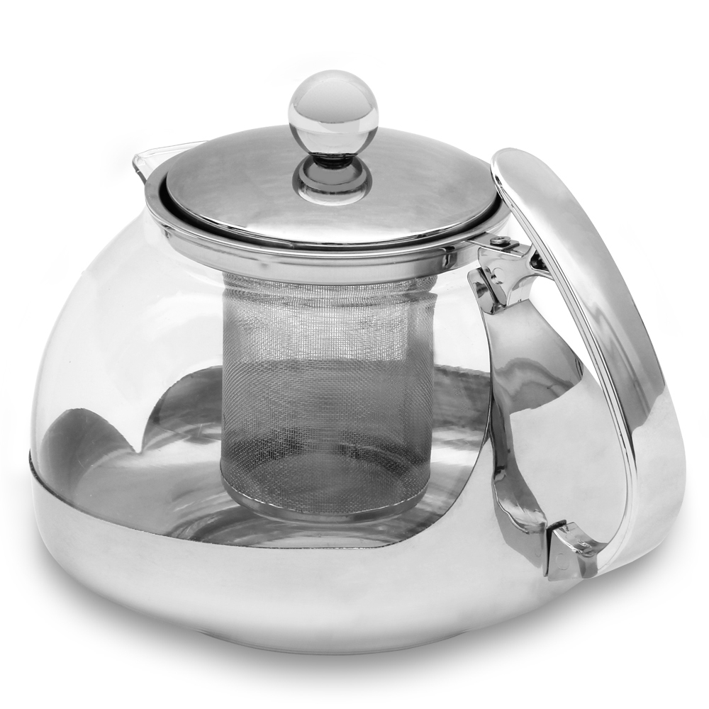 teekanne glas 1 2 l edelstahl sieb filter deckel tee kanne teebreiter glaskanne ebay. Black Bedroom Furniture Sets. Home Design Ideas