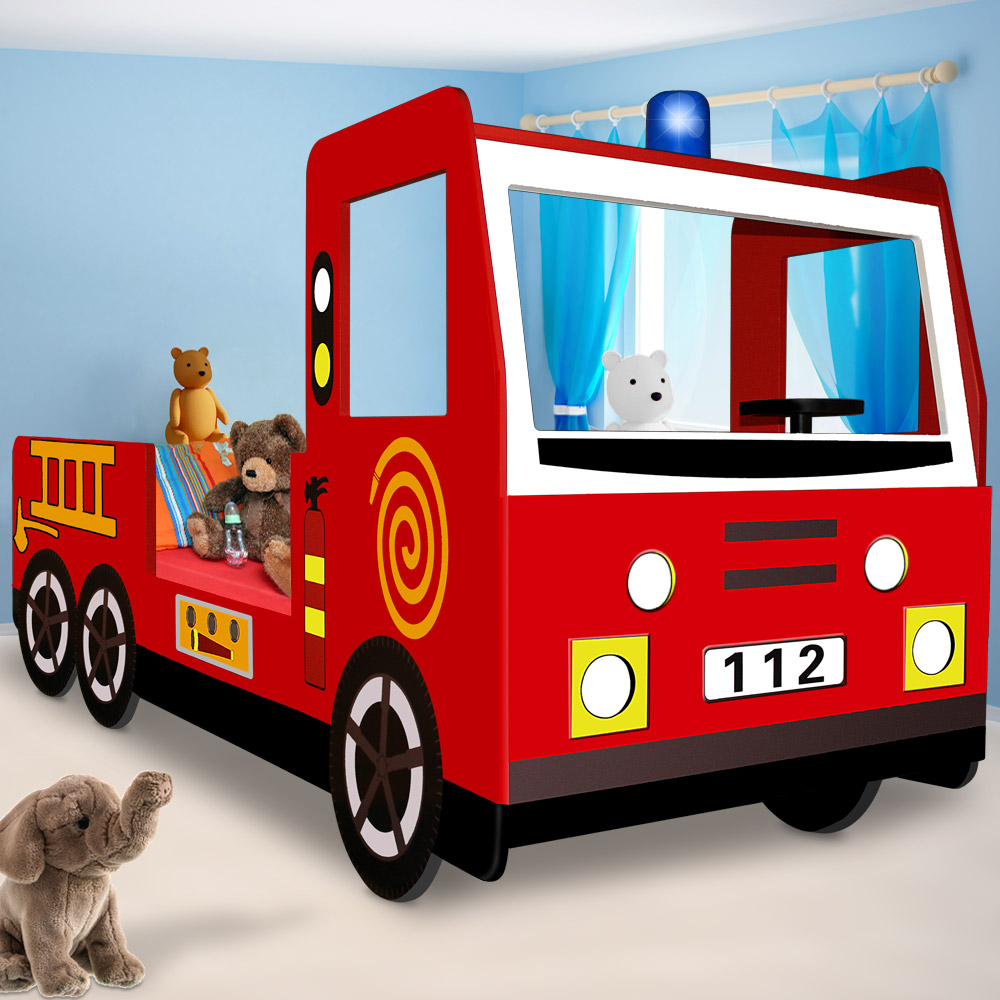 kids fire engine bed frame truck single bed car red childrens bedroom furniture ebay. Black Bedroom Furniture Sets. Home Design Ideas