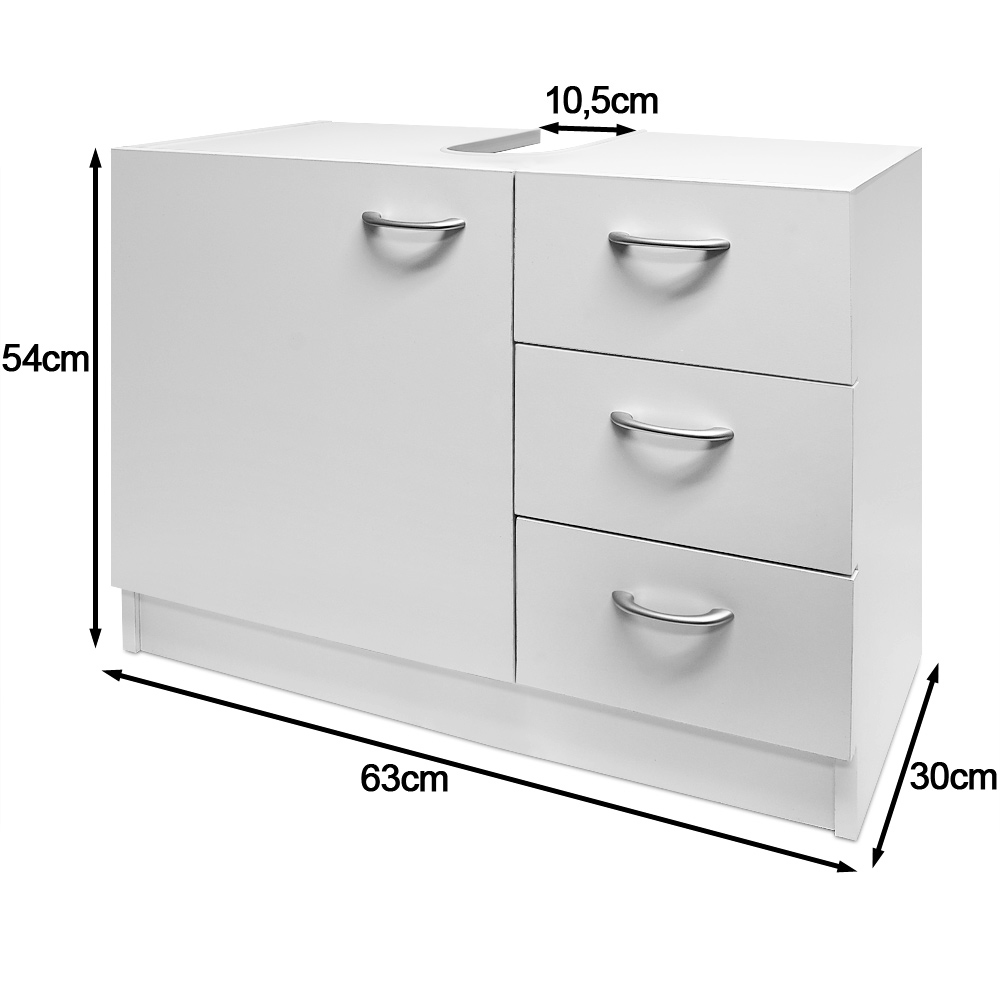 white under sink cabinet bathroom basin storage unit 3 drawers bath cupboard ebay. Black Bedroom Furniture Sets. Home Design Ideas