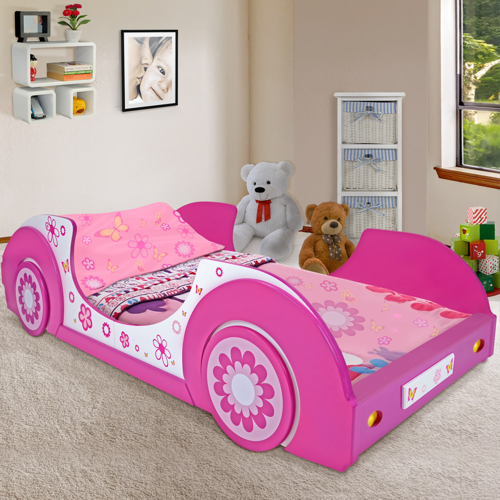 Details About Girls Single Car Bed Frame Girl Toddler Junior Kids Pink Princess Children S