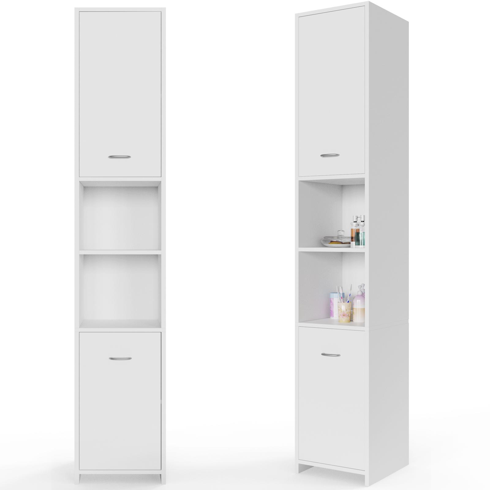 Deuba armario alto de ba o estanteria de ba o color blanco estante con puertas ebay - Armarios de bano altos ...