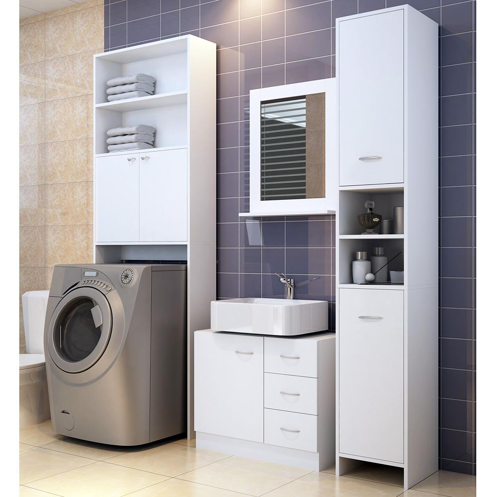 white bathroom cupboard tall cabinet furniture large. Black Bedroom Furniture Sets. Home Design Ideas