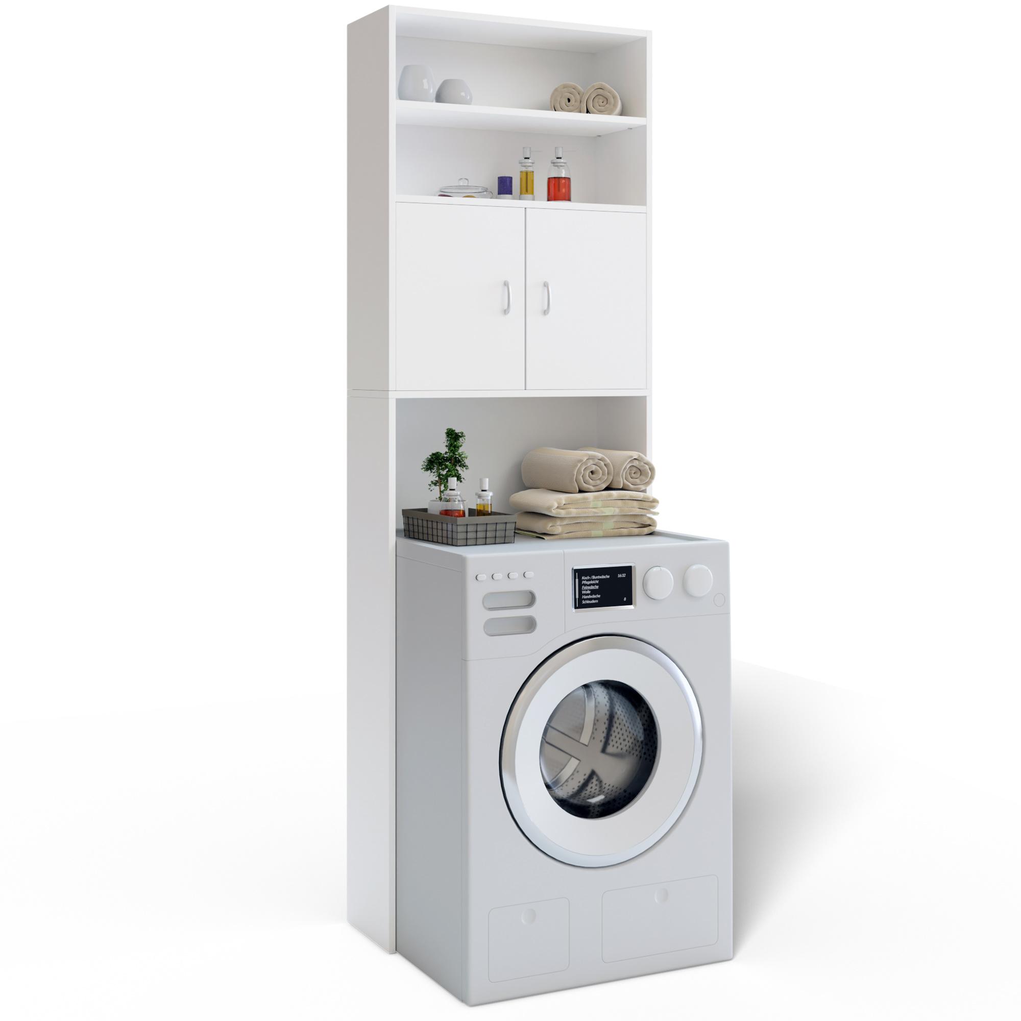Deuba armario para la lavadora mueble de ba o armario alto para ba o 195x63cm ebay - Armarios de bano altos ...